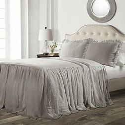Lush Decor Ruffle Skirt Bedspread Gray Shabby Chic Farmhouse