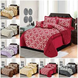 Luxurious 7 Pieces Comforter Bed Throw Quilted Bedspread Dou