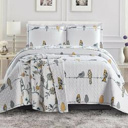 Luxury Modern Ayat Birds Oversized Bedspread Coverlet Set Re