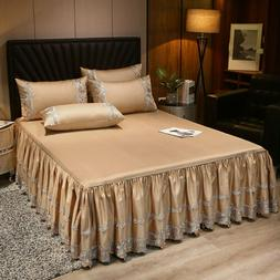 Luxury Satin Cotton Lace Bedspread Ruffles Bed Skirt Queen F