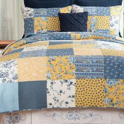 Lydia Blue Patchwork Quilted Bedspread + Shams-3 Pc Queen or