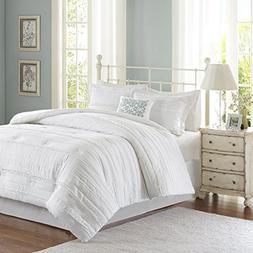 Madison Park Celeste 5 Piece Comforter Set, White, Queen
