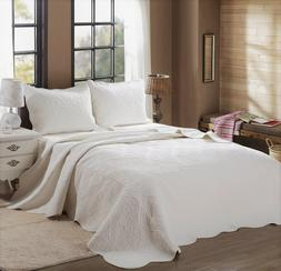 Mael Ivory Scalloped Edge Reversible Cotton Quilt Set, Bedsp