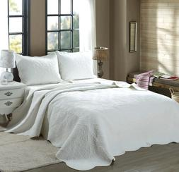 Mael White Scalloped Edge Reversible Cotton Quilt Set, Bedsp