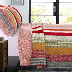 Greenland Home Marley Quilt Set, King/Cal King, Cranberry