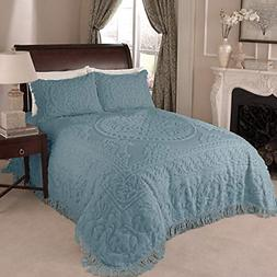 Beatrice Home Fashions Medallion Bedspread, Full, Blue