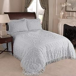 Beatrice Home Fashions Medallion Chenille Bedspread, Full, G
