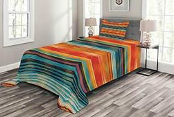 Lunarable Mexican Bedspread Abstract Vibrant Vintage Aztec M
