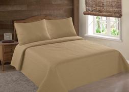 2/3PC GOLD NENA BED BEDSPREAD QUILT SET COVERLET STIPPLING S