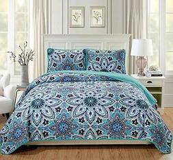 Fancy Linen 3pc Quilted Coverlet Bedspread Set Over Size Bed