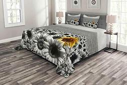 Lunarable Modern Bedspread Sunflower Field Black and White w