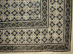 "Moroccan Block Print Indian Tapestry Cotton Bedspread 108"" x"