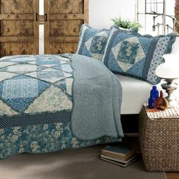 Moyers Blue Real Patchwork 100%Cotton 3-Piece Quilt Set, Bed