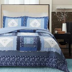 Moyle Blue Real Patchwork 100%Cotton 3-Piece Quilt Set, Beds