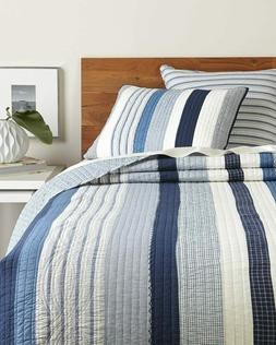 Nantucket Dream Cotton Quilt in Queen or King-Blues & White-