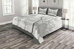 Lunarable Nature Bedspread Silhouette of Trees Forest Freshn