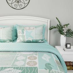 Nautical Seashell Starfish Aqua Ocean Print Comforter TXL FQ