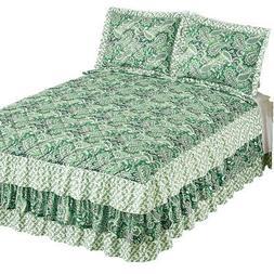 Nelly Paisley Print Triple Ruffled Bedspread