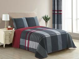 All American Collection New 3pc Plaid Printed Reversible Bed