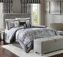 New Madison Park 7 pc Elsa Comforter Set KING Size Sateen Gr