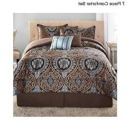 New 7 Piece Full Queen Size Comforter Set With Bedskirt Mode