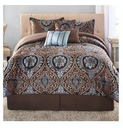 New 7 Piece King Size Comforter Set Elegant Bedding Bedsprea