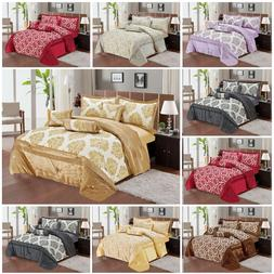 New 7 Piece Quilted Bedspread Throw Comforter Bedding Set Do