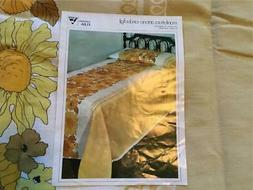 New 70's Brady Bunch Style Gold Flower Full Bedspread Made I