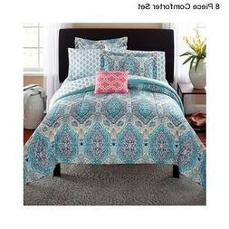 New 8 Piece Paisley King Size Comforter Set Modern Bedding B