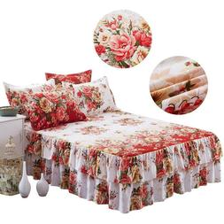 New Bed Skirt Pillowcase Dust Ruffle Bedspread Twin/Full/Que