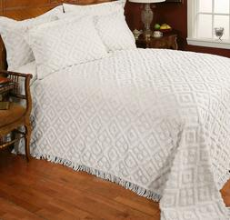 Stylemaster Diamond White Cotton Chenille Bedspread and Sham