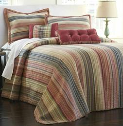 NEW QUILT Retro Chic TWIN Cotton Striped BEDSPREAD Striped J