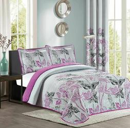 All American Collection New Reversible Floral Printed Bedspr