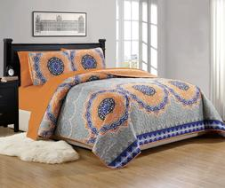 """Fancy Linen Over Sized Quilt And Sheet Set Orange """"Gray Gree"""