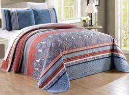Oversize Blue White Red Quilt Reversible CAL KING Size Bedsp