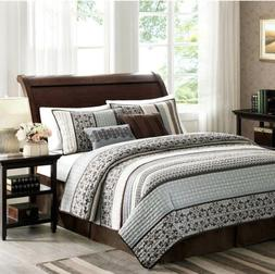 Madison Park Princeton 5pc King Size Quilt Bedding Set , Tea