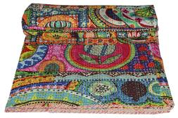 USA Twin Size Kantha Handmade Quilt Blanket Cotton Multi Col