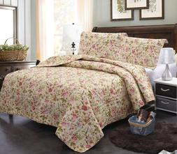 Pink Bedspread Coverlet Set Allover Soft Bed Cover Quilt Que