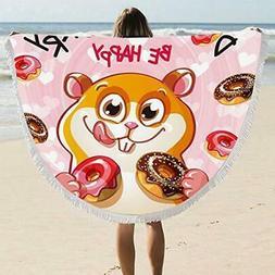 """ARIGHTEX PINK Round Beach Towel Blanket 60"""" Squirrel Donut H"""
