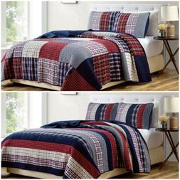 Chezmoi Collection Plaid Patchwork Washed Cotton Reversible