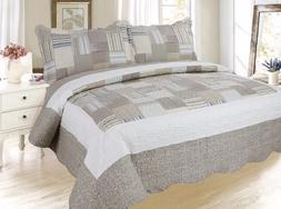 Plaid Printed Bedding 3 Pc Bedspread Coverlet Quilt Set, Kha