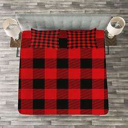 Plaid Quilted Bedspread & Pillow Shams Set, Retro Lumberjack