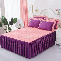Plain Brushed Thick Bed Skirts Quilted Bedspreads Full Queen