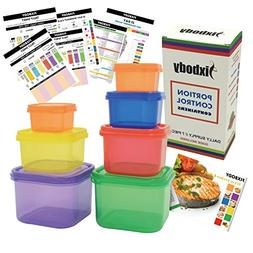 FIXBODY 7 Piece Portion Control Containers Kit Color-Coded L