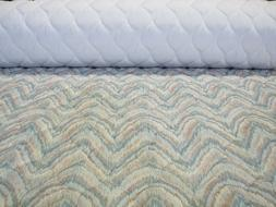 Pre Quilted Fabric Flamestitch Pretty Teal Green Quilting Be