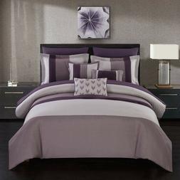PURPLE COMFORTER SET Bed in a Bag Bedspread Bedding Pillowca