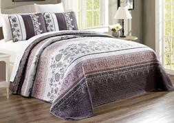 Purple Grey Black Floral Quilt Reversible CAL KING Size Beds