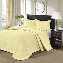 Madison Park Quebec 3 Piece Bedspread Set Yellow Queen