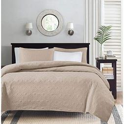 Madison Park Quebec Dusty Pale Khaki 3-Piece Quilted King Co