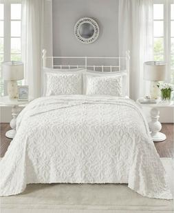 Madison Park Queen 3 Piece Cotton Chenille Bedspread Set In